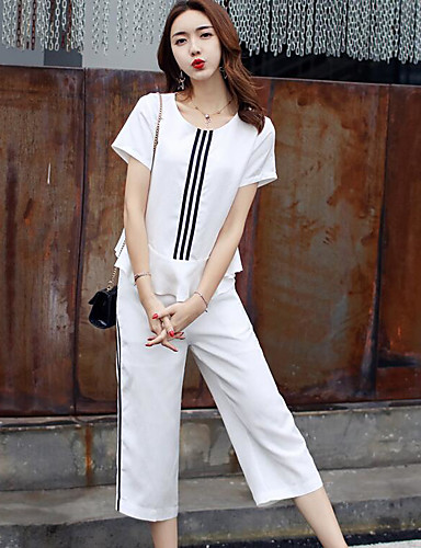 Women's Daily Casual Contemporary Summer T-shirt Pant Suits,Striped Round Neck Short Sleeve