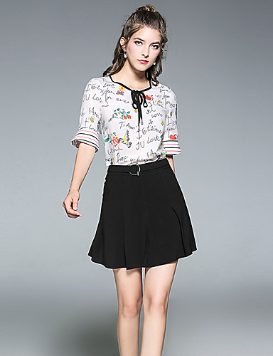Women's Going out Casual/Daily Simple Summer Blouse Skirt Suits,Printing Round Neck Short Sleeve Polyester Inelastic