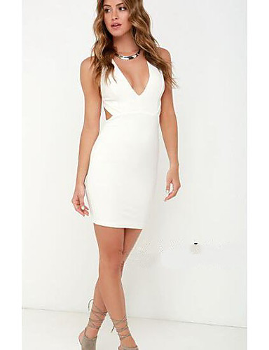 Women's Daily Casual Bodycon Dress,Solid V Neck Mini Sleeveless Cotton Others Fall Mid Rise Micro-elastic Medium