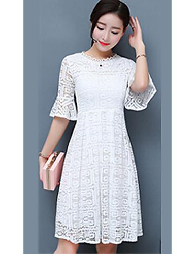 Women's Cotton Sheath Dress - Solid Colored White
