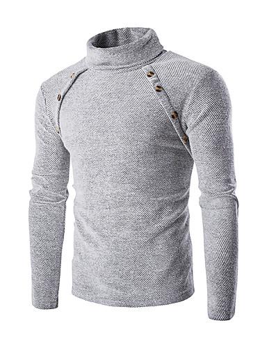 Herre Ensfarget Pullover, Daglig Langermet Høy krage Polyester Vinter