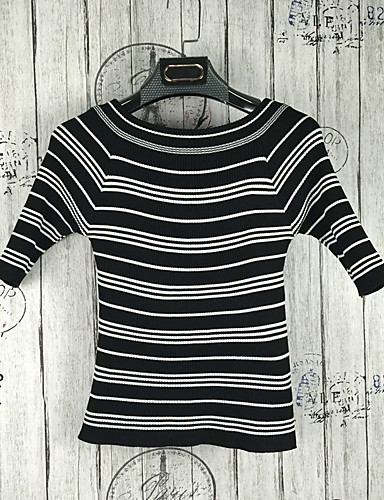 Women's Daily Going out Cute Sexy Street chic Short Pullover,Solid Striped Round Neck Short Sleeves Wool Cotton Acrylic Spring Fall Thin