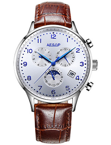 Women's Mechanical Watch Automatic self-winding Leather Band Black Brown