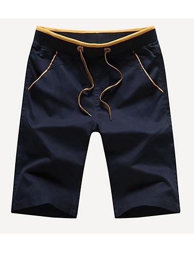 Herre Enkel Uelastisk Chinos Shorts Bukser,Rett Mellomhøyt liv Ensfarget
