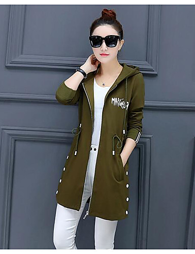 Women's Cotton Trench Coat - Solid Colored Letter