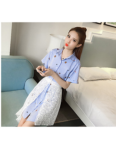 Women's Daily Going out Cute Casual Sexy Spring Summer Shirt Skirt Suits,Solid Striped Shirt Collar Short Sleeve Lace Cashmere Cotton