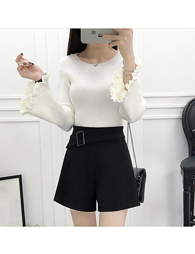 Women's Daily Regular Pullover,Solid Round Neck Long Sleeves Cotton Spring Medium Micro-elastic