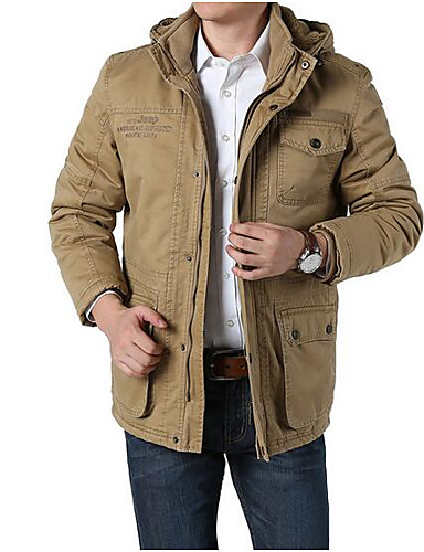 Men's Daily Simple Casual Winter Fall Regular Jacket, Solid Hooded Cotton Others