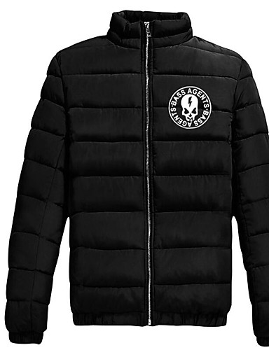 Men's Regular Padded Coat,Simple Casual/Daily Print-Cotton Polyester Long Sleeves