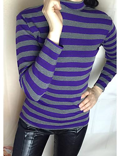 Naiset Pitkähihainen Ohut Pyöreä kaula-aukko Puuvilla Kesä Vintage Bile T-paita,Yhtenäinen Raidoitettu