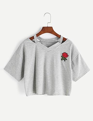 abordables Hauts pour Femme-Tee-shirt Femme, Couleur Pleine / Broderie - Coton Style artistique / Cœur / Classique Sortie Col en V Jaune / Eté / Brodée / Découpé