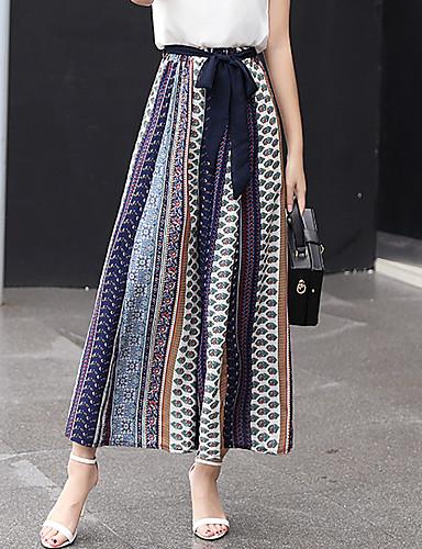 Women's High Rise Micro-elastic Loose Wide Leg Chinos Pants,Vintage Boho Street chic Print Polyester Spring Summer Fall