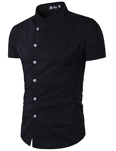 Men's Work Simple Cotton Shirt - Solid Colored / Stand / Short Sleeve