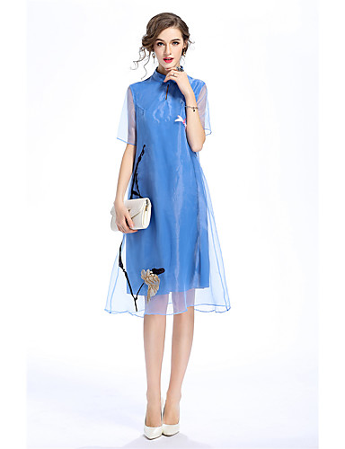 Women's Vintage Casual Loose Dress - Solid Colored Embroidered Stand