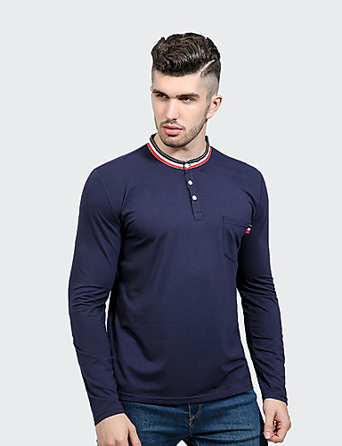 Men's Daily Casual Spring Fall T-shirt,Solid Round Neck Long Sleeves Cotton Polyester Medium