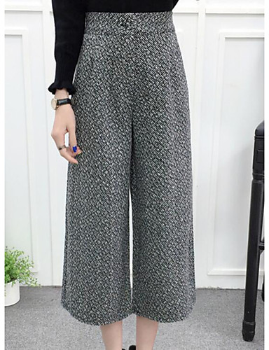 Women's Mid Rise Micro-elastic Wide Leg Pants,Simple Straight Color Block
