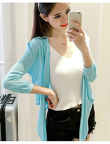 Women's Daily Casual Regular Cardigan,Solid V Neck 3/4 Length Sleeves Others Spring Summer Thin Micro-elastic
