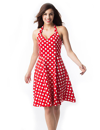 Women's Party Daily Vintage A Line Mini Dress,Polka Dot Cut Out Halter Sleeveless Cotton Summer High Rise