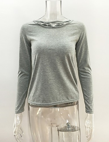 Women's Daily Going out Party/Cocktail Sexy Street chic Spring Summer T-shirt,Solid Boat Neck Long Sleeves Cotton Spandex Thin