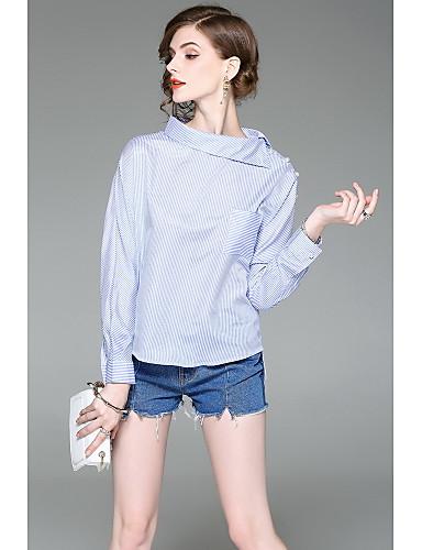 Women's Going out Cute Shirt,Striped Shirt Collar Long Sleeves Cotton