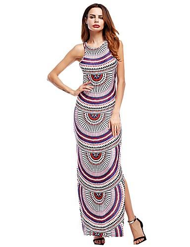 Women's Street chic Puff Sleeve Loose Dress - Pattern, Backless Maxi