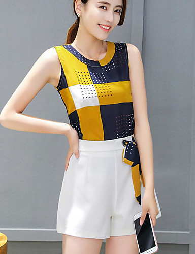 Women's Daily Casual Summer T-shirt Pant Suits,Color Block Round Neck Sleeveless Polyester