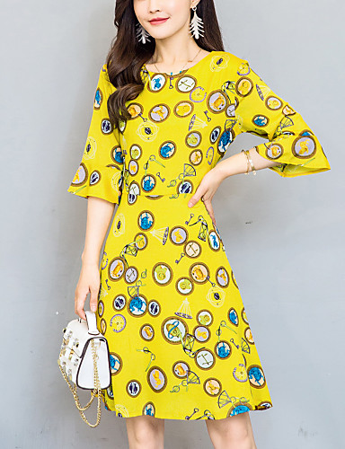 Women's Going out Casual Street chic Slim Thin A Line Chiffon Dress Print Round Neck Knee-length Half Sleeve Flare Sleeve Summer Mid Rise Yellow
