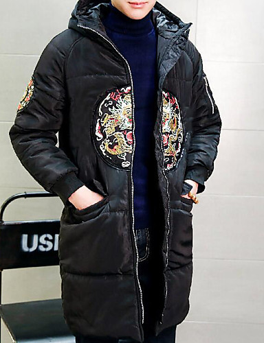 Men's Long Padded Coat,Simple Active Daily Casual Solid Embroidery-Cotton Polyester Cotton Long Sleeves