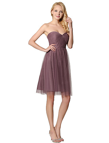Sheath / Column Sweetheart Knee Length Chiffon Bridesmaid Dress with Pleats