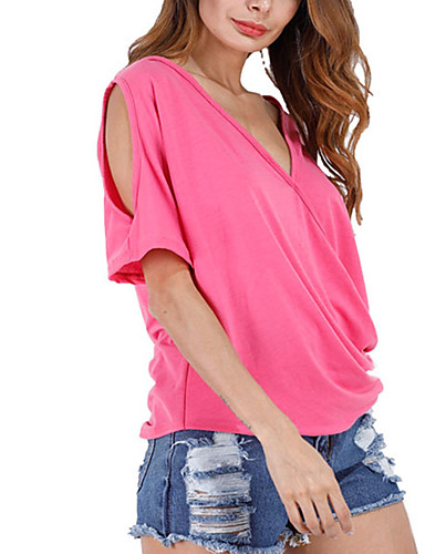 Women's Casual Street chic T-shirt-Solid Colored,Cut Out Deep V