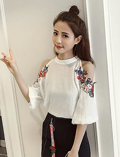 Women's Daily Casual Summer Blouse Skirt Suits,Solid Floral Halter Half Sleeve Cotton/nylon with a hint of stretch
