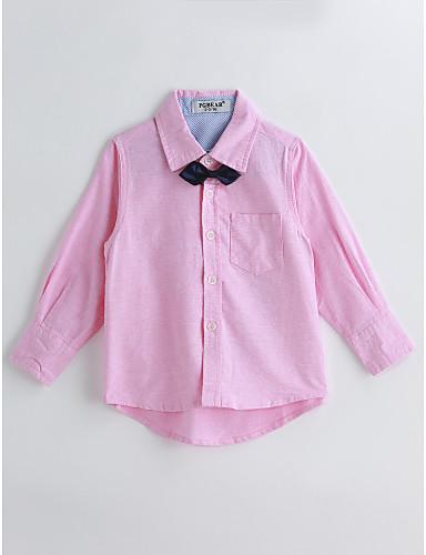 Boys' Solid Animal Print Shirt, Cotton Spring Fall Long Sleeves Blushing Pink