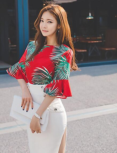 Women's Casual/Daily Sexy Summer Blouse, Geometric Round Neck Short Sleeves Cotton