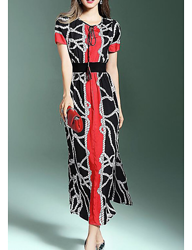 Women's A Line Dress - Color Block Embroidered Maxi