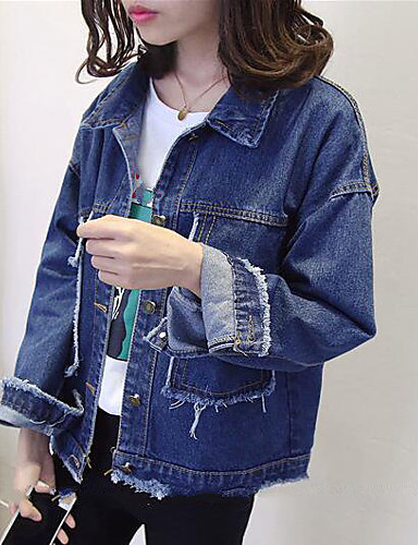 Women's Modern/Contemporary Denim Jacket-Solid Colored Shirt Collar