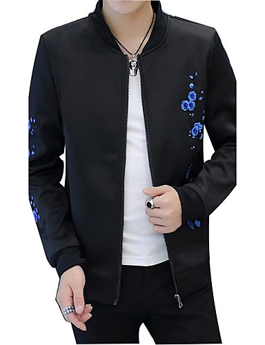 Men's Daily Simple Casual Chinoiserie Spring Fall Jacket,Print Stand Long Sleeve Regular Polyester Embroidered