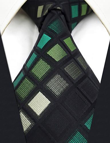Men's Vintage Cute Party Work Casual Rayon Necktie - Color Block Check Jacquard, Basic