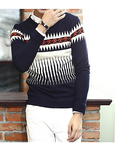 Men's Daily Casual Regular Pullover,Pattern Round Neck Long Sleeves Cotton Knitwear Spring Fall Medium Micro-elastic