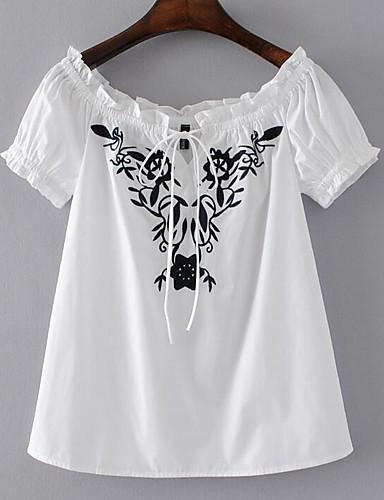 Naiset Lyhythihainen Venekaula-aukko Puuvilla Yksinkertainen Päivittäin T-paita,Kukka