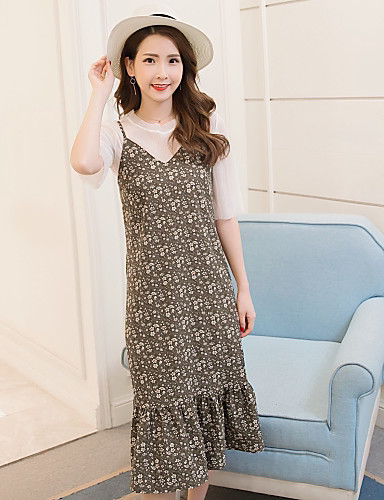 Women's Holiday / Going out Boho Chiffon Dress - Floral Pleated Strap / Summer