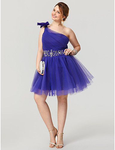 Princess One Shoulder Knee Length Tulle Plus Size Cocktail Party Homecoming Dress with Beading by TS Couture®
