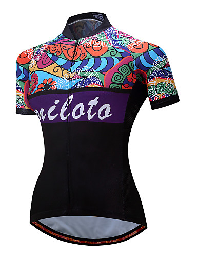 cheap Cycling Clothing-Miloto Women's Short Sleeve Cycling Jersey - Black Floral Botanical Plus Size Bike Jersey Top Reflective Strips Sports Polyester Spandex Mountain Bike MTB Road Bike Cycling Clothing Apparel