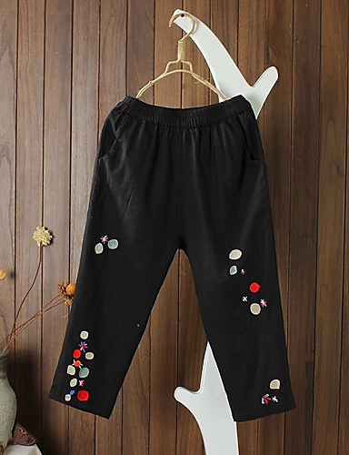 Women's Mid Rise strenchy Culotte Relaxed Pants,Street chic Embroidery Spring Summer Fall