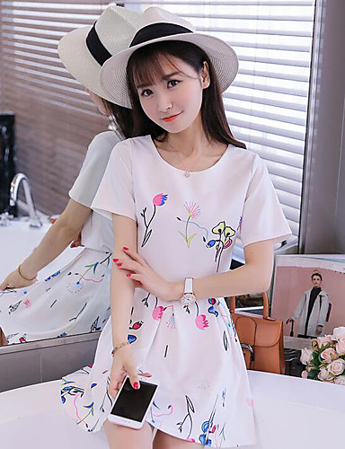 Women's Daily Casual Summer T-shirt Skirt Suits,Solid Floral Round Neck Short Sleeve Fiber Imitation Silk Micro-elastic