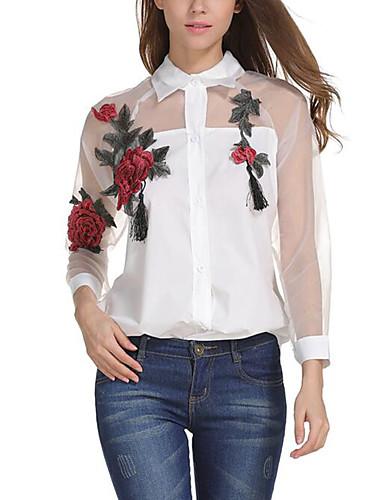 billige Topper til damer-Skjortekrage Skjorte Dame Netting Gatemote Hvit / Sommer