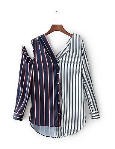 Silke Bomull Polyester Spandex Medium Langermet,Skjortekrage Skjorte Stripet Fargeblokk Vår Høst Enkel Søtt Gatemote Ut på byen
