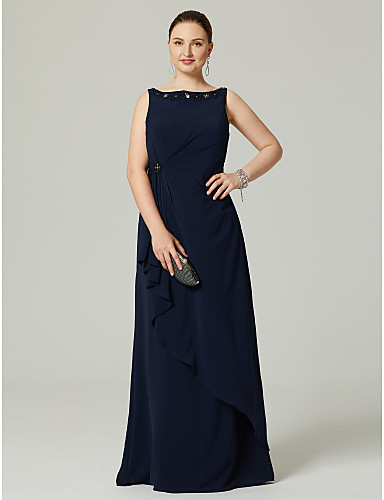 f7464d0122 Plus Size Sheath   Column Boat Neck   Bateau Neck Floor Length Chiffon  Cocktail Party   Prom   Formal Evening Dress with Beading   Pleats by TS  Couture®
