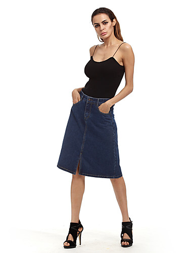 Women's Daily Going out Holiday Knee-length Skirts Relaxed Polyester Solid Spring Summer Fall