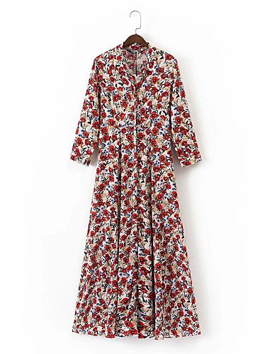 Løstsittende Skiftet Kjole Ut på byen Fritid/hverdag Enkel Gatemote Dame,Blomstret Trykt mønster Skjortekrage Maksi 3/4 ermer Silke