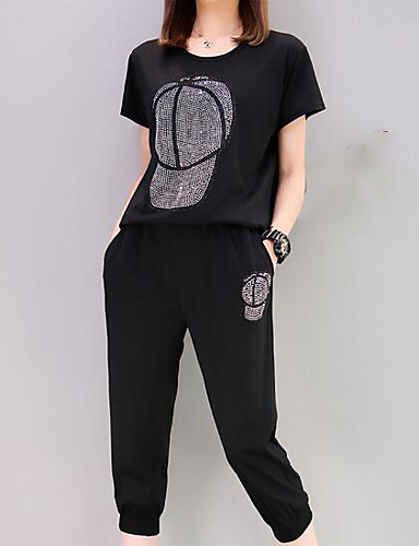 Women's Daily Casual Casual Summer T-shirt Pant Suits,Solid Print Round Neck Short Sleeve Cotton/nylon with a hint of stretch